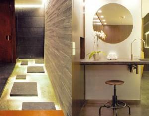 """Le vestiaire ainsi que son accès est tout en lamelles de pierre grise. Chaque forme est dessinée, chaque éclairage est étudié, parfois même crée pour le lieu comme ces """"waterponds"""" lumineux sous l'eau. ©AndreePutman2006"""
