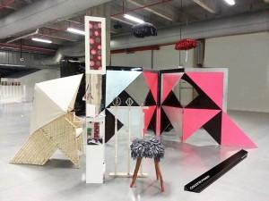 """Now Le Off 3013 Paris Design Week Paravent May Pham Van Suu / Fauteuil Brahma Mops / """"Cages d'escalier"""" Clotilde Fraile / Papier peint sur mesure Céline Caneparo / Coussins Bretelle Rébecca(!)fabulatrice"""